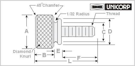 Thumb Screws Knurl by UNICORP Standard/Metric-Stock/Custom