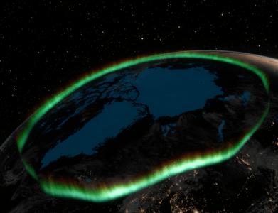 """O aurora oval (verde) é o cinto em torno do pólo norte geomagnético, onde a atividade das auroras é mais alta. Crédito: Do documentário """"The Northern Lights - uma experiência mágica de P. Brekke."""