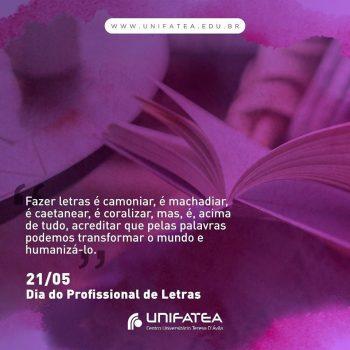 21 de maio é comemorado o dia do profissional de Letras