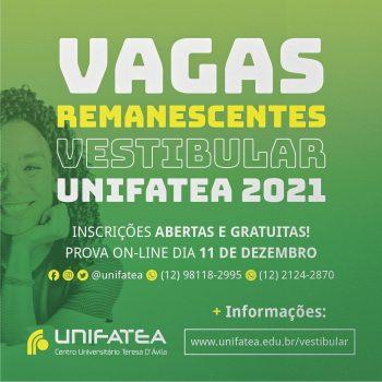 Estão abertas as inscrições para o Vestibular de Vagas Remanescentes UNIFATEA