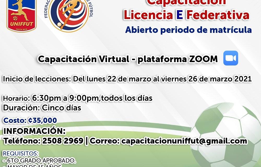 Se les invita a participar de la Licencia E – Primer nivel del Licencia Federativa