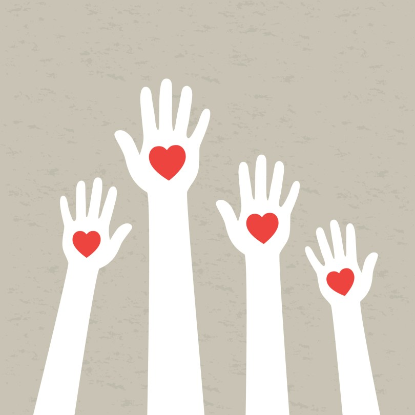hands with hearts indicating self-care for caregivers