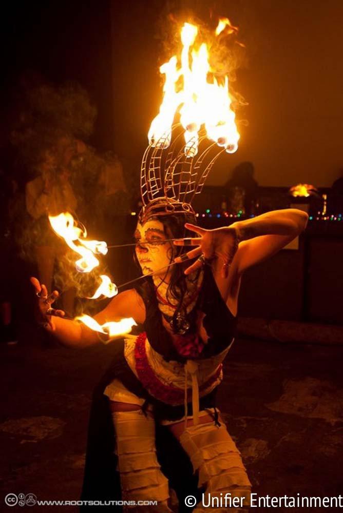 Fire Dancing Dia De Los Muertos