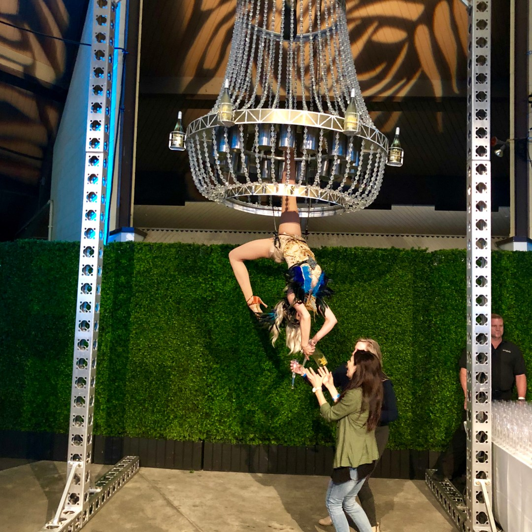 Female dressed as a bird serving champagne upside down from an aerial chandelier.