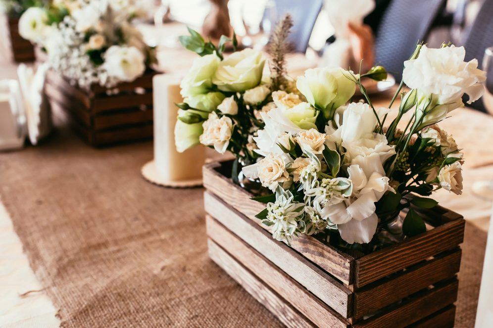 Wooden Box with Bouquet