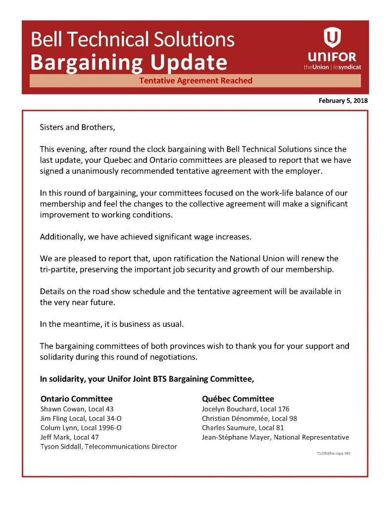 Bargaining Bulletin February 5 BTS newsletter 2018 ENG