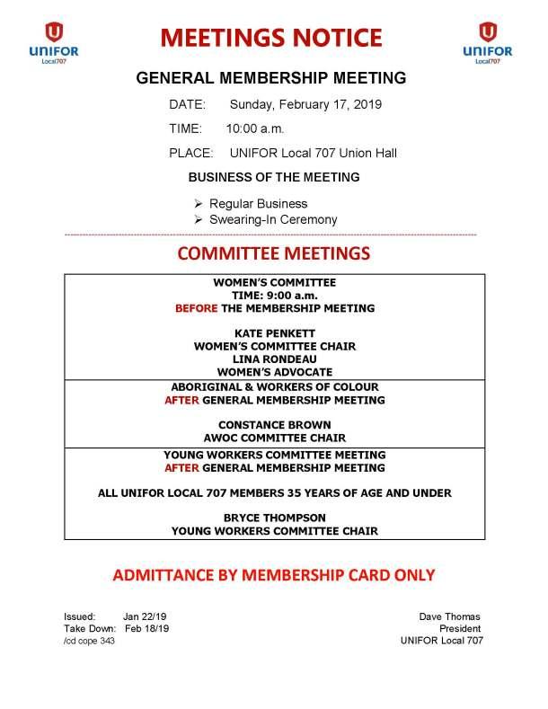 02 Feb 21 2019 General Membership - Womens Committee - Young Workers - AWOC - Picnic Meetings Notice