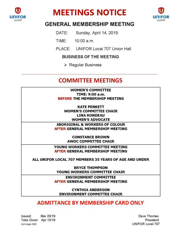 04 Apr 14 2019 General Membership - Womens Committee - Young Workers - AWOC - Environment Meetings Notice