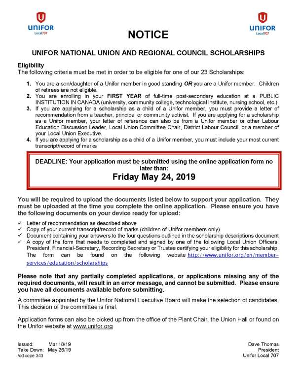 Unifor National Union and Regional Council Scholarships due Friday May 24 2019