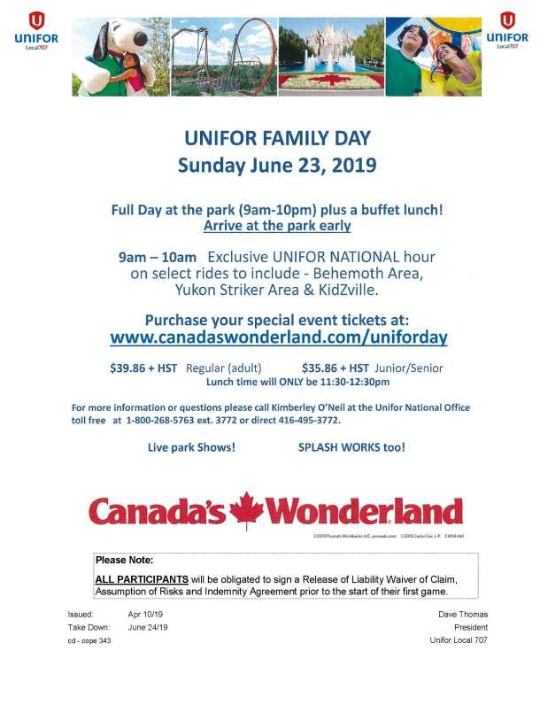 Canada's Wonderland Unifor Family Day Sunday June 23 2019