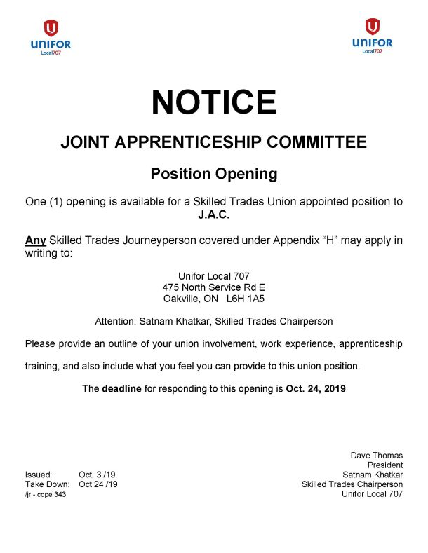 JAC 1 position opening Skilled Trades Deadline Oct. 24 2019