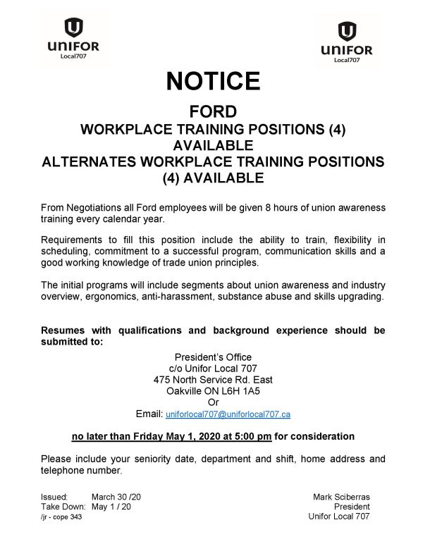 Ford Workplace Training and Alternate Training Positions resumes due 2020 May 1