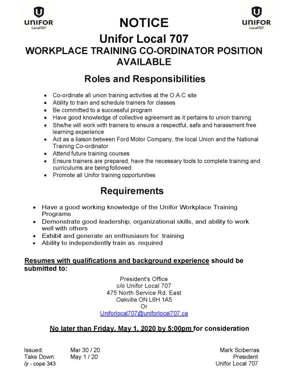 Workplace Training Coordinator Position due 2020 May 1