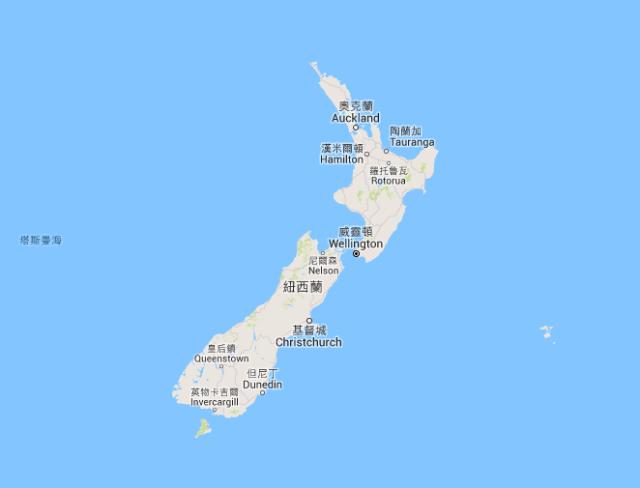 紐西蘭制服地圖