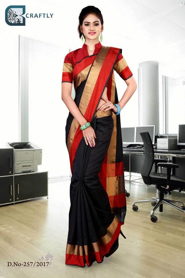 Black-with-red-border-uniform-saree-257