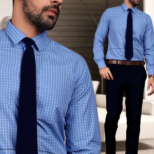 Blue-Chex-Formal-Uniform-Shirts-Trousers-Set-for-Corporate-Office-SB-113154.