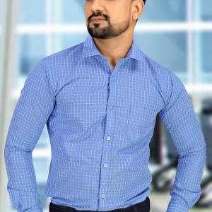 Blue-Color-Mens-Uniform-Shirt-For-Corporate-Office-Staff-N