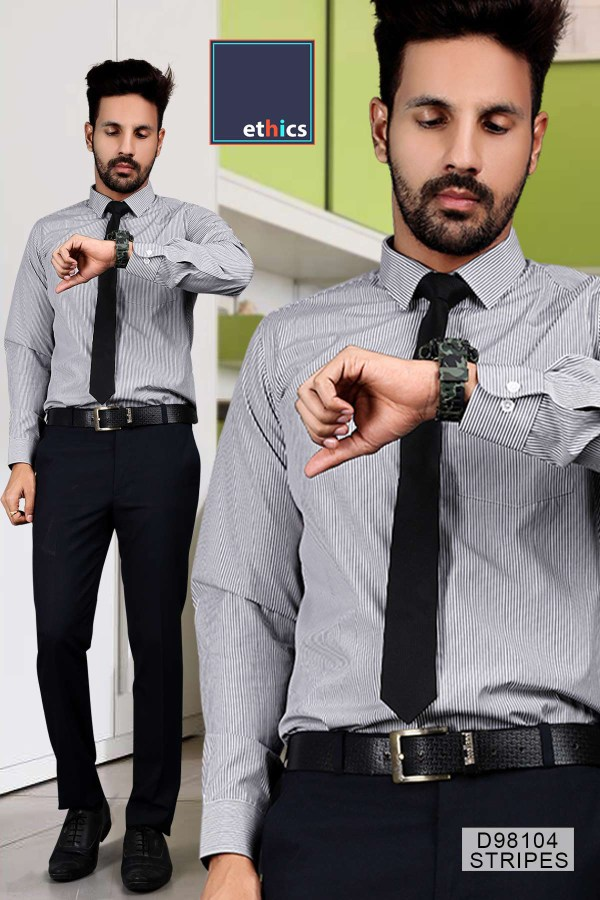 Gray-Stripes-Formal-Wear-Shirt-Trousers-Set-for-Corporate-Office-D-98104