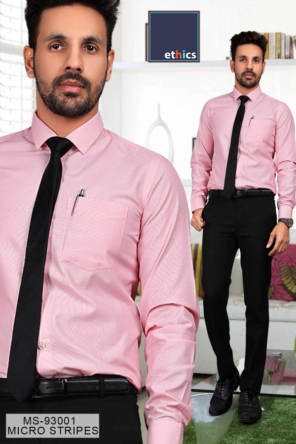 Pink-Micro-Stripes-Mens-Uniform-Shirts-Trousers-Set-for-Corporate-Office-MS-93001