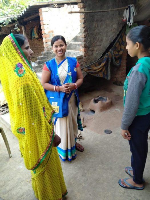 Happy Suposhan Sangini interacting with rural women
