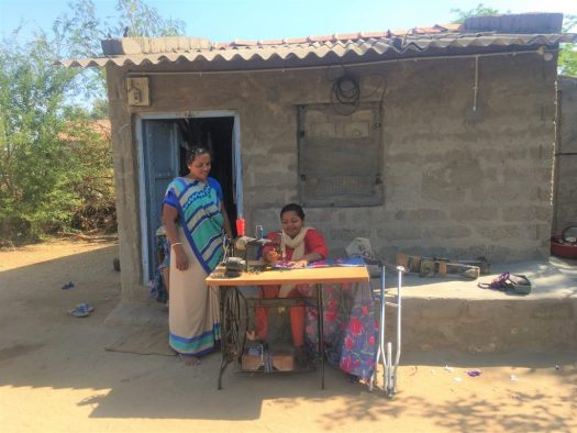 Suposhan Sangini teaching stitching to differently abled woman