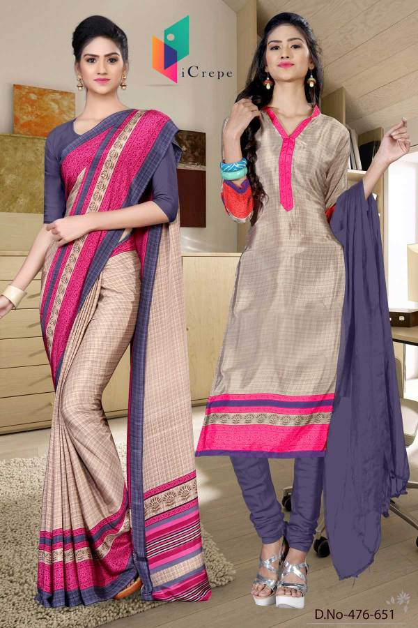 beige-and-blue-italian-crepe-silk-showroom-uniform-saree-salwar-combo-476-651