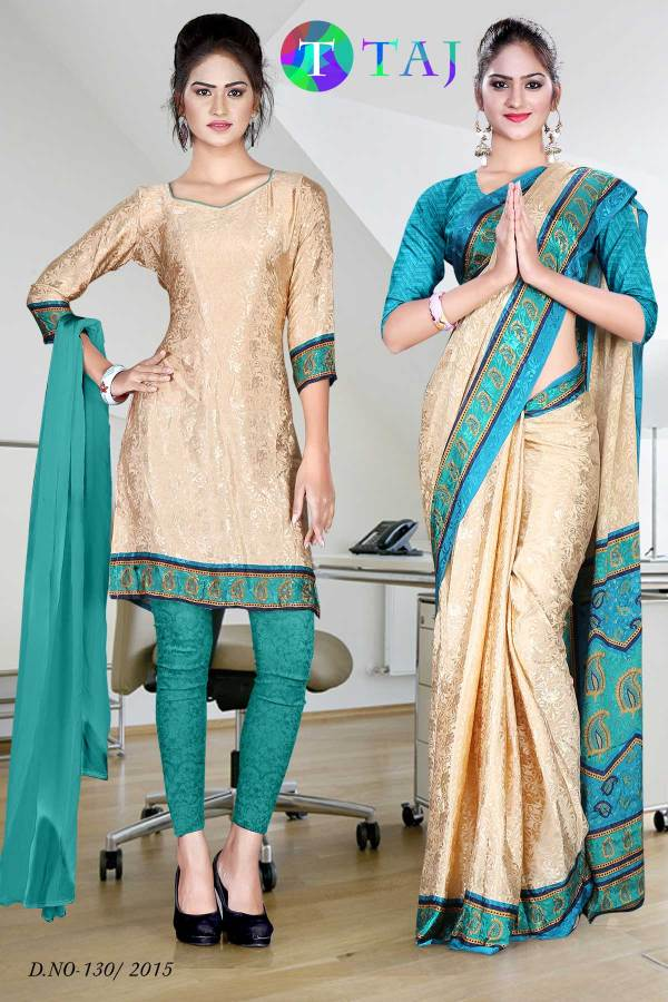 beige-and-green-uniform-saree-salwar-combo-130