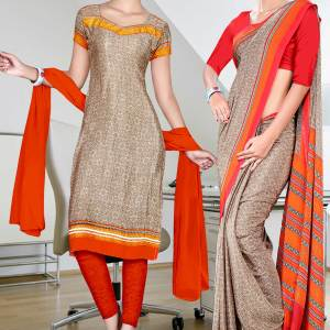 beige-and-orange-italian-crepe-uniform-saree-salwar-combo-127