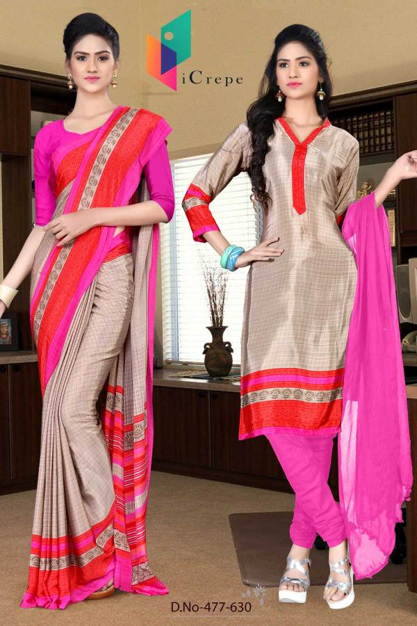 beige-and-pink-italian-crepe-silk-office-uniform-saree-salwar-combo-477-630