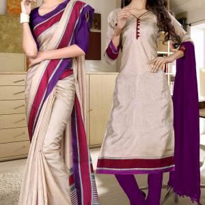 beige-and-purple-simple-uniform-saree-salwar-combo-464-677