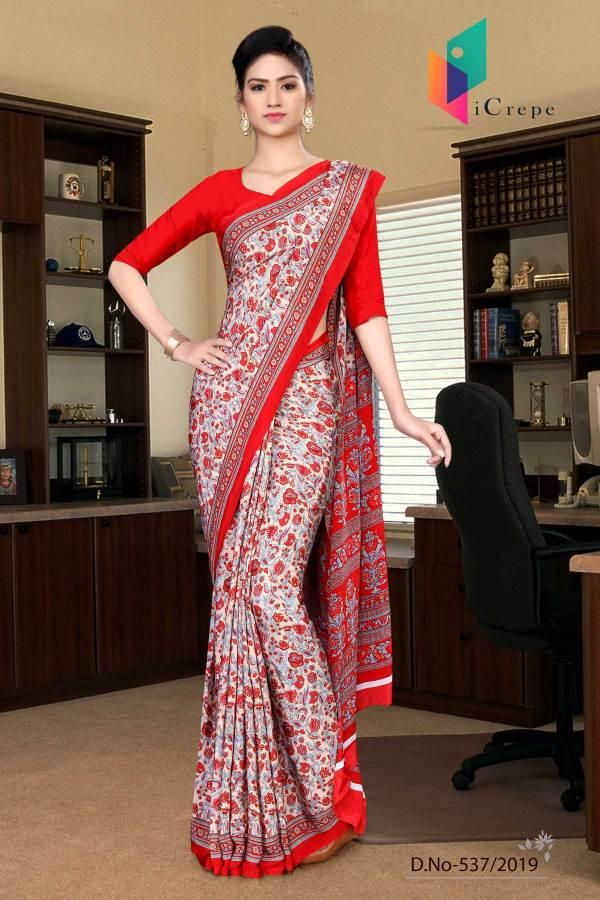 beige-and-red-italian-crepe-silk-house-keeping-uniform-saree-537