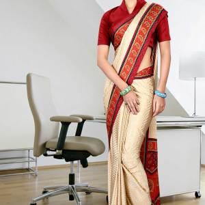 beige-and-maroon-jacquard-crepe-taj-hotel-uniform-sarees-236