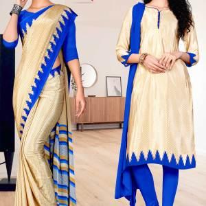 beige-blue-small-print-premium-italian-silk-crepe-saree-salwar-combo-for-institution-uniform-sarees-1611-c