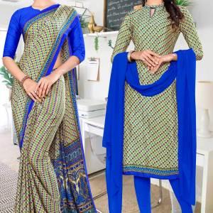 beige-blue-small-print-premium-italian-silk-crepe-uniform-saree-salwar-combo-for-showroom-staff-1058-C