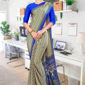 beige-blue-small-print-premium-italian-silk-crepe-uniform-sarees-for-showroom-staff-1058-21
