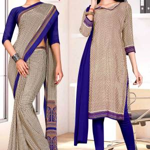beige-blue-small-print-premium-italian-silk-crepe-uniform-sarees-salwar-combo-for-workers-1614-c