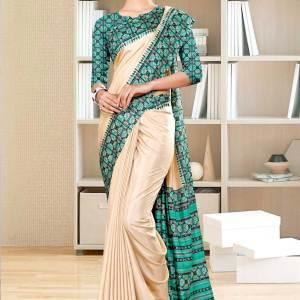 beige-green-printed-blouse-concept-polycotton-raw-silk-saree-for-staff-uniform-sarees-1079