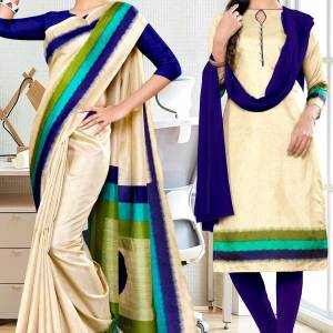 beige-navy-blue-gala-border-premium-polycotton-cotfeel-saree-salwar-combo-for-hotel-uniform-sarees-1075