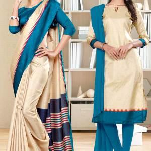 beige-peacock-blue-gala-border-premium-polycotton-cotfeel-saree-salwar-combo-for-hospital-uniform-sarees-1073