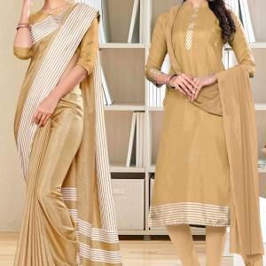 beige-plain-border-premium-polycotton-raw-silk-saree-salwar-combo-for-office-uniform-sarees-1103-C