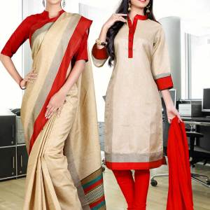 beige-red-border-tripura-cotton-uniform-saree-salwar-combo-389