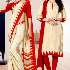 beige-red-premium-italian-silk-crepe-saree-salwar-combo-for-staff-uniform-sarees-1610-c