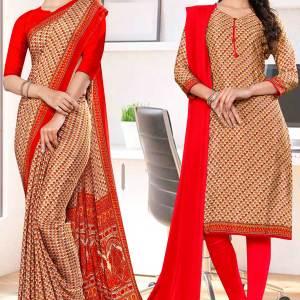beige-red-small-print-premium-italian-silk-crepe-uniform-saree-salwar-kameez-combo-for-students-1056-C