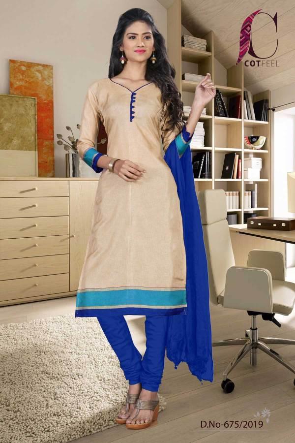 beige-with-blue-border-tripura-cotton-office-uniform-salwar-kameez-675