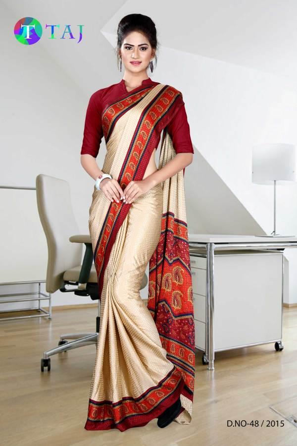 beige-with-maroon-jacquard-crepe-taj-hotel-uniform-sarees-48