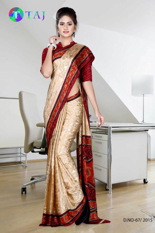 beige-and-maroon-jacquard-crepe-taj-hotel-uniform-sarees-67