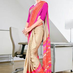 beige-with-orange-and-pink-border-italian-crepe-uniform-saree-14
