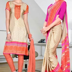beige-with-pink-border-italian-crepe-uniform-saree-salwar-combo-128