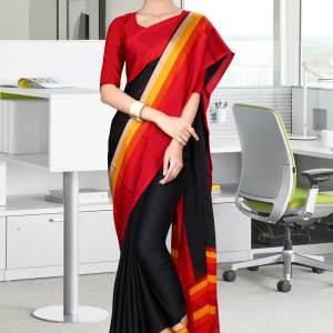 black-and-red-italian-crepe-silk-institution-uniform-saree-514