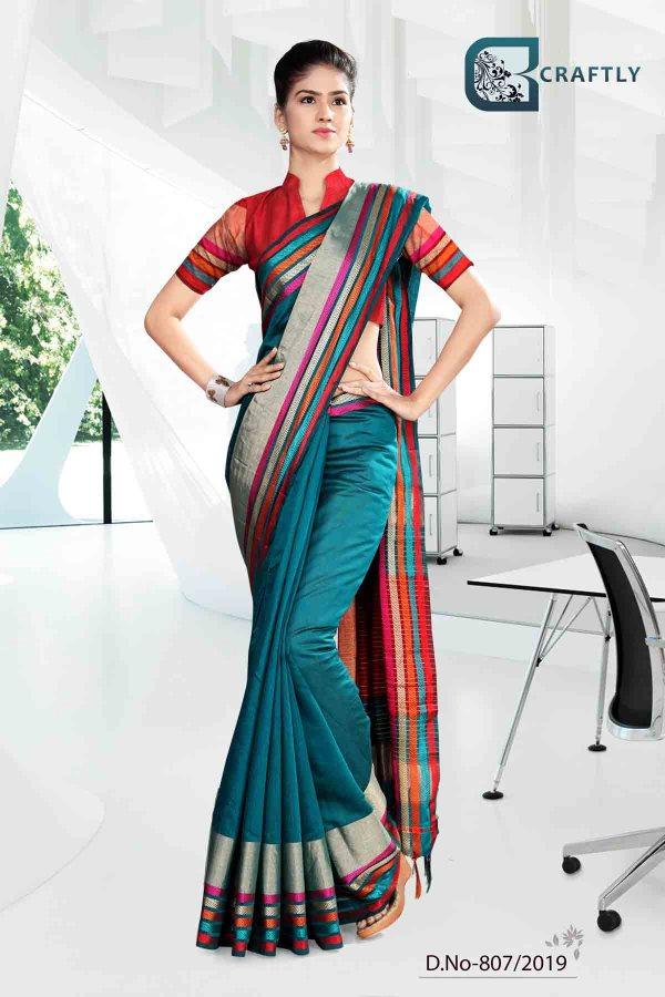 blue-and-orange-craftly-cotton-corporate-uniform-saree-807